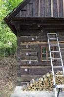 Obr. 8: Ukázka akustické detekce aktivity larev v dřevěných prvcích roubení Chalupy z Prlova a radnice ve Valašském muzeu v přírodě, Rožnov pod Radhoštěm