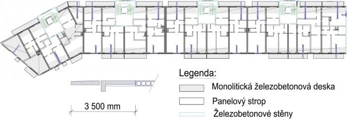 Obr. 4: Šedě dobetonávky podél balkónů