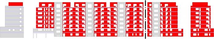 Obr. 7: Pohled z ulice včetně postranních štítů – červeně zdivo, šedivě železobeton, černá čerchovaná čára značí zlom ve fasádě