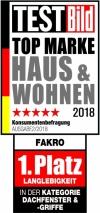 """Společnost FAKRO, světová dvojka na trhu střešních oken, byla oceněna zákazníky v žebříčku """"Nejlepší značka"""" Haus & Wohnen německého časopisu TESTBild. Firma obsadila první místo v kategorii Střešní okna za životnost výrobku."""