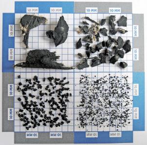 Obr. 2: Různé frakce granulátu