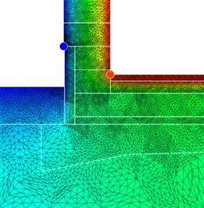 Obr. 2: Detail založení základové desky na pěnovém skle se soklem zatepleným XPS, zdivo se zateplením