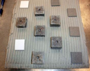 Obr. 2: Testovací plocha s naneseným lepidlem a přilepenými vzorky a terčíky odtrhoměru