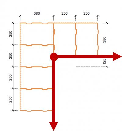 Obr. 2: Počátek půdorysného modulu