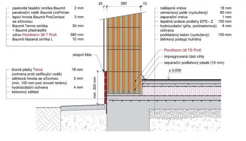 Obr. 3: Sokl zdiva z cihel Porotherm 38 T Profi