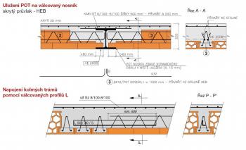 Obr. 8: Strop Porotherm tloušťky 250 mm vhodný i pro vložení ocelových prvků