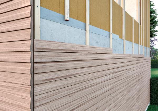 Detail nové fasády se skladbou z materiálů EGGER