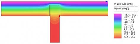 Obr. 9: Termogram výsledku posouzení varianty A (ponechání jedné komory cihly T Profi k vnějšímu líci, 7,5 cm), nejnižší zjištěná povrchová teplota 16,42 °C