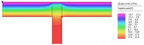 Obr. 10: Termogram výsledku posouzení varianty B (ponechání 4 cm tepelné izolace z MW, λ = 0,041), nejnižší zjištěná povrchová teplota 16,43 °C