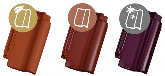 Povrchové úpravy tašek Tondach; a – režná; b – engoba; c – glazura