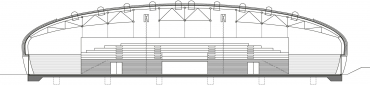 Obr. 2: Podélný řez v prostoru tribuny