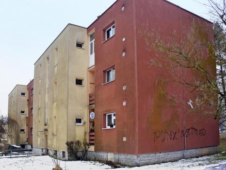 Obr. 3: Typická ukázka zatepleného panelového domu postiženého nárůstem řas