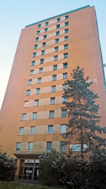 Obr. 4: Severní stěna zatepleného panelového domu postižená nárůstem řas před ošetřením systémem Balclean