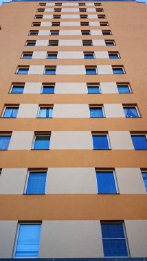 Obr. 4: Severní stěna zatepleného panelového domu postižená nárůstem řas přibližně jeden rok po ošetření systémem Balclean
