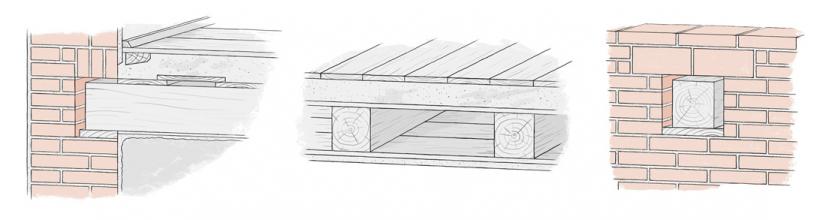Obr. 2: Schematické řezy tradičními dřevěnými stropy