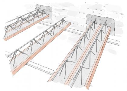 Obr. 11: Zdvojení trámů do vysekaných kapes pro zvýšení únosnosti stropu