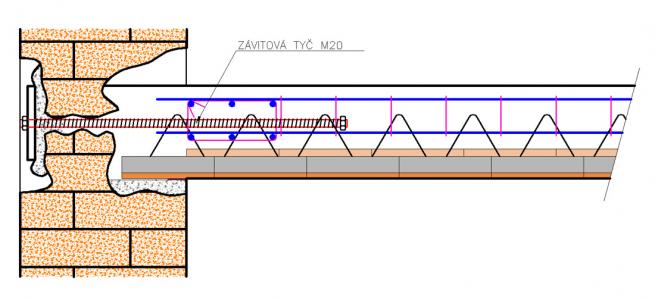 Obr. 16: Ukotvení zdiva do obvodového žebra