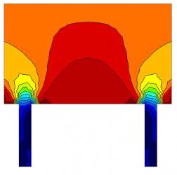 Obr. 3: D oblasti v přechodu sloupového nosného systému na stěnový