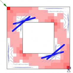 Obr. 4: Návrh příhradového modelu
