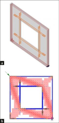 Obr. 6: Stěnový panel s otvorem v IDEA StatiCa [2]; a – vyztužení konstrukce; b – posouzení únosnosti – tlaková pole, výztuž a kotvení