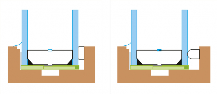Obr. 8: Rámeček s proměnlivou tloušťkou (ForArch 2015). Distanční rámeček měnící svoji tloušťku dle tlaku plynu. Také bez úniku. Bonusem je nezkreslený odraz. Delší zkosení hran rámečku umožňuje dávat tmel pouze do jeho okrajů.