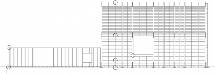 Podélný pohled na rámovou konstrukci