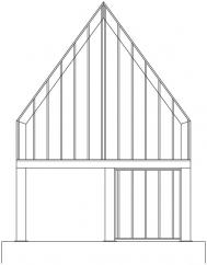Pohled na štít rámové konstrukce