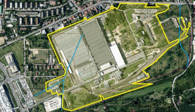 Plánek areálu po bývalé továrně Siemens v Praze-Zličíně