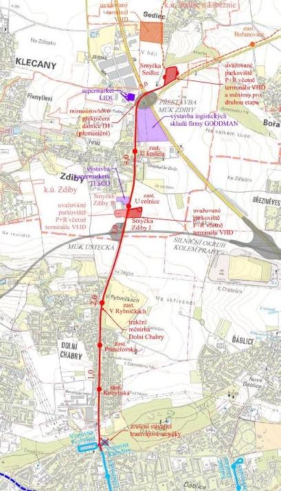 Plánovaná tramvajová trať Kobylisy–Zdiby, zdroj www.Praha.eu