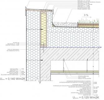 Ukázka zpracování stavebního detailu – plochá střecha extenzivní jednoplášťová – atika