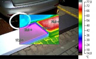Obr. 7: Rozdílné povrchové teploty bílého a šedého EPS