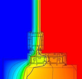 Teplotní křivka podtrhuje velmi dobré izolační vlastnosti posuvných dveří GENEO (červená 10 °C, modrá 13 °C)