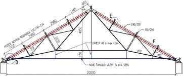 Obr. 11: Priečna väzba strešnej konštrukcie s doplneným novým ťahadlom