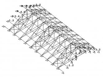 Obr. 12: Priestorový model konštrukcie s doplnenými strešnými vystužovadlami a novými ťahadlami priečnych väzieb