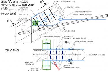 Obr. 13: Detail pripojenia nových ťahadiel na trámy priečnej väzby
