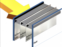 Obr. 3: Úprava, var. 2 – Venkovní sklo je stejné jako u var. 1, izolační účinek zasklení je zvýšen pomocí reflexních fólií, napnutých mezi skly