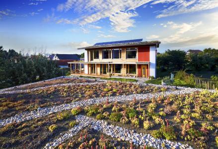 Obr. 21: Dokončený dům (pohled přes vegetační střechu garáže)