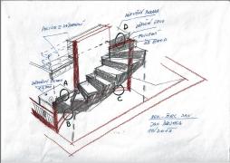 Skica nového schodiště