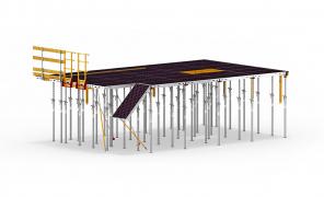 Bednění SKYMAX – kompatibilní konstrukční díly z různých materiálů tvoří stavebnici, která umožňuje flexibilní řešení podle požadavků projektu. Panelové stropní bednění může být nasazeno kompletně ze spodní úrovně a všechny díly se dají využít i pro montáž stropních stolů.