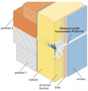 Horizontální dilatační profil PUR-FIX