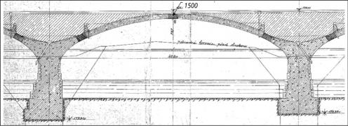 Obr. 8: Původní dokumentace Libeňského mostu – původní řez obloukovou mostní konstrukcí [1, 2] (kótovaná celková výška mostní konstrukce a mostovky ve vrcholu 1500 mm, tj. při tloušťce obloukových klenbových pásů 670–830 mm činí celková tloušťka násypu a mostovky 670–830 mm)