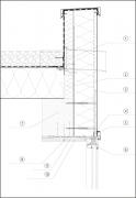 Detail řešení atiky vmístě okna: 1– L profil, 2 – Minerální vlna, 3–Systémový ocelový kotvicí profil, 4– Čela okapnice jsou ohnuta tak, aby voda nestékala pooknech, dopanelu jsou zasunuta zapero adrážku, 5–Elastická pěna PUR, 6 – Parotěsnicí páska, 7 – Lepené dřevo 240 x 200mm, 8 – Kompozitní pásovina po400mm zapuštěná dopanelu, 9 – Překližka, 10 – Skryté kotvení podložky obložení mimo kotvy