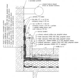 Obr. 18: Detail ukončení izolace na svislé konstrukce