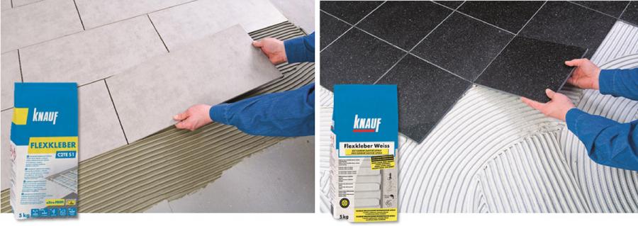 Na lepení velkoformátové dlažby je specialistou Knauf Flexkleber