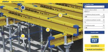 Prostřednictvím aplikace Doka Tools je možné snadněji naplánovat například stropní nebo stěnová bednění. Na foto je optimalizační program pro tradiční nosníkové bednění Dokaflex.