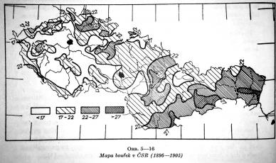 Obr. 1: Izokeraunická mapka z publikace Bouřky a ochrana před bleskem [3]