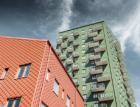 Výškové budovy v Göteborgu s fasádními falcovanými šablonami PREFA