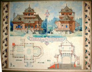 Obr. 1: Původní projekt D. Jurkoviče z r. 1899, dnes ve Státním archivu v Bratislavě