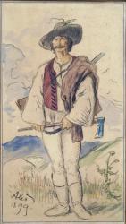 Obr. 19: Nalezené originální návrhy postav pro výmalbu Libušína od Mikoláše Alše