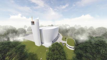 V Neratovicích se připravuje stavba kostela od architekta Zdeňka Fránka, vizualizace www.farnostneratovice.cz